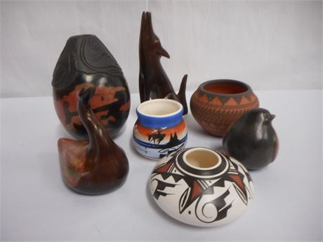 7 PIECE DECORATIVE LOT - WITH NATIVE AMERICAN BOWLS