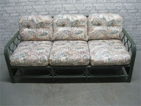 GREEN PAINTED RATTAN SUNROOM FURNITURE SOFA