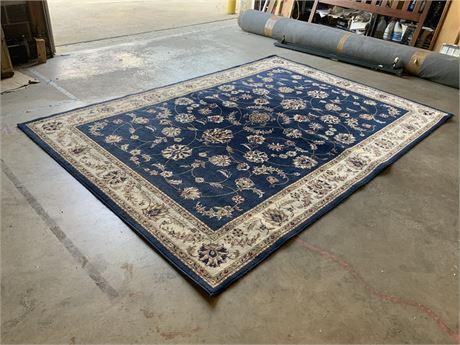 11-Ft. Blue Floral Wool Area Rug