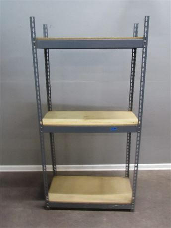 3 Shelf Metal and Wood Adjustable Storage Shelf