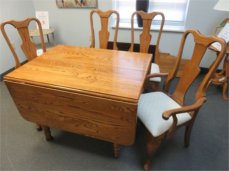 Amish Oak Drop Leaf Dining Table Set