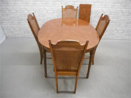 LENOIR CHAIR CO. DINING TABLE AND 4 CANE BACK CHAIRS