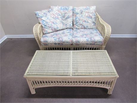 BENCH CRAFT RATTAN/WICKER LOVESEAT AND COFFEE TABLE