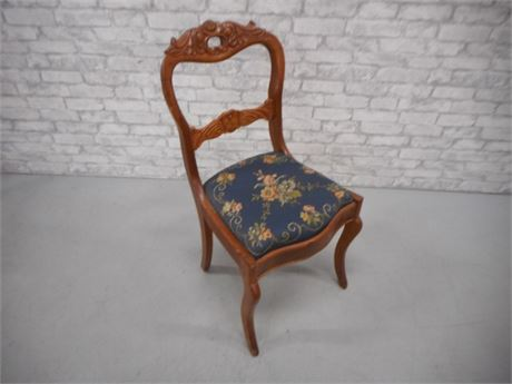 VINTAGE CARVED BACK SIDE CHAIR WITH FLORAL FABRIC SEAT