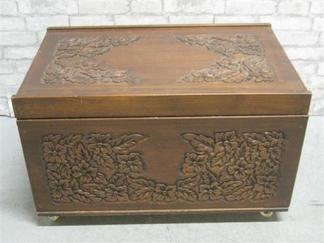 HAND-CRAFTED/CARVED STORAGE CHEST ON CASTERS