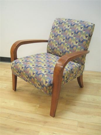 COLORFUL RETRO GEOMETRIC PATTERNED UPHOLSTERED SIDE CHAIR