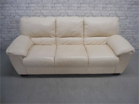 OFF WHITE/CREAM COLORED LEATHER SOFA