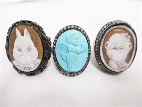 LOT OF 3 AMEDEO CAMEO RINGS - SIZE 7