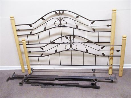 LOVELY KING BED FRAME (HEADBOARD, FOOTBOARD, AND RAILS)