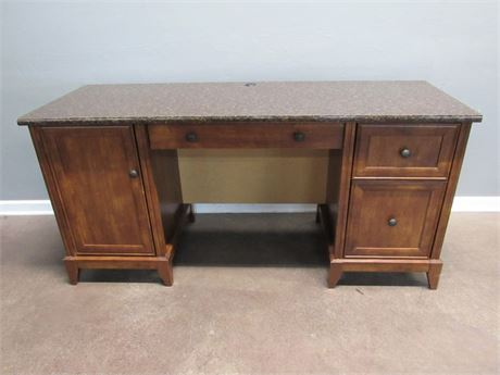 Sauder Kneehole Desk with Faux Laminated Marble like Top