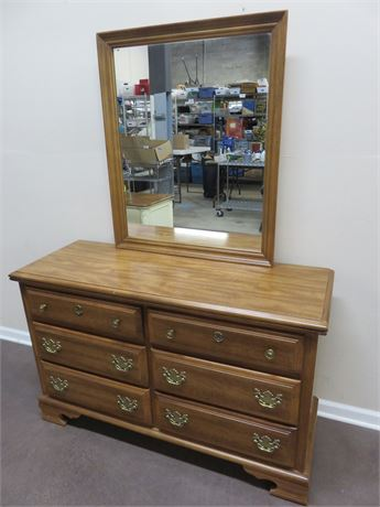 BASSETT Maple Dresser & Mirror