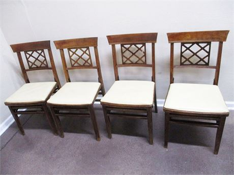 LOT OF 4 VINTAGE SOLID KUMFORT FOLDING CHAIRS W/LATTICE DESIGN