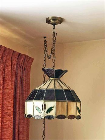 Vintage Faux Stained Glass Ceiling Fixture