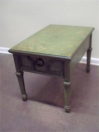 VINTAGE STANLEY FURNITURE GREEN FINISHED END TABLE