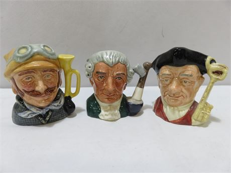 3-Piece ROYAL DOULTON Mini Toby Jug Lot
