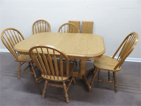 WALTER OF WABASH Oak Dining Table Set