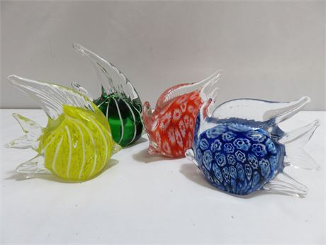 4-Piece Art Glass Tropical Fish Paperweight Lot