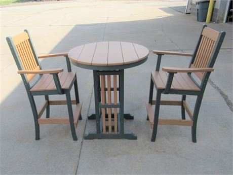 Nice LuxCraft Recycled Plastic Bistro Table with 2 Bar Stools