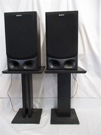 LOT OF 2 SONY SPEAKERS (SS-G2000) AND SPEAKER STANDS