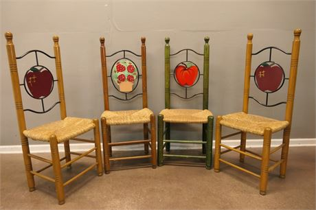 Hand Painted Rattan Chairs