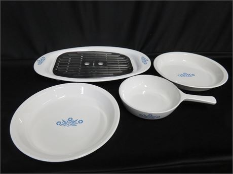 4-Piece Corning Ware Blue Cornflower Cookware Set