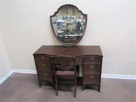 VINTAGE SERPENTINE FRONT DESK/VANITY WITH CHAIR AND SHIELD MIRROR