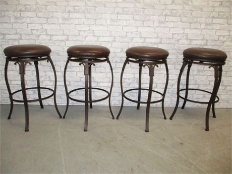 LOT OF 4 LEATHER-TOPPED BARSTOOLS