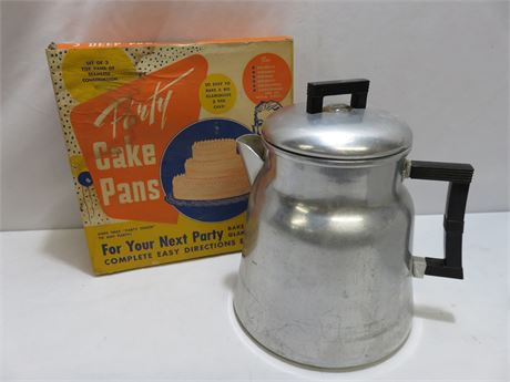 Vintage Wear-Ever Coffee Pot - Bake-King Cake Pan Set