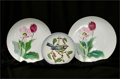 Decorative Plates of Tulips by Nippon and Vintage Blue Titmouse by Goebel