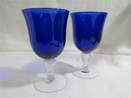 12 COBALT BLUE AND CLEAR GLASS GOBLETS