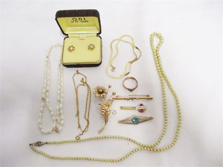 LOT OF KARAT GOLD JEWELRY - 9K, 10K, 12K, AND 14K
