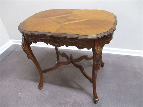 STUNNING VINTAGE CARVED TABLE WITH INLAID TOP