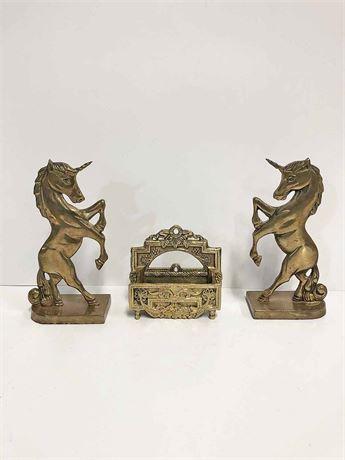Brass Unicorn Bookends & Match Stick Holder