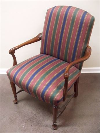 GREAT LOOKING FAIRFIELD STRIPED UPHOLSTERED EXPOSED WOOD ARM CHAIR