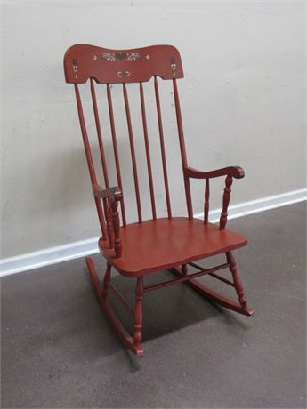 VINTAGE PAINTED STENCILED BACK ROCKER