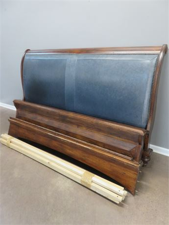 King Size Leather Panel Bed