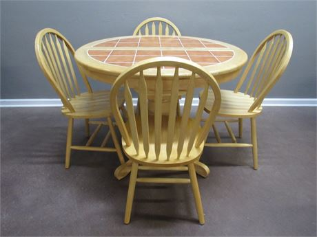 OAK PEDESTAL DINETTE TABLE WITH TILE TOP AND 4 ARROW-BACK WINDSOR STYLE CHAIRS