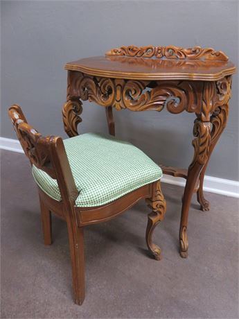 Carved Wood Vanity & Chair