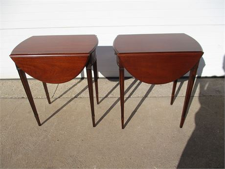 LOT OF 2 DROP-LEAF SIDE TABLES