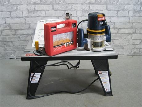 RYOBI BENCH TOP ROUTER TABLE AND ROUTER WITH BIT SET