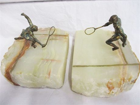 TENNIS PLAYER BOOKENDS SIGNED BY THE ARTIST