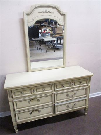 DIXIE 6-DRAWER FRENCH PROVINCIAL DRESSER WITH MIRROR