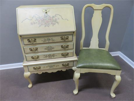 JASPER CABINET Queen Anne Secretary Desk & Chair