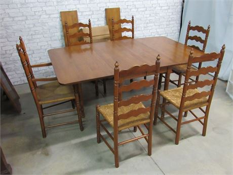 Antique Cherry Drop-leaf Table with 6 Rush Seat Chairs