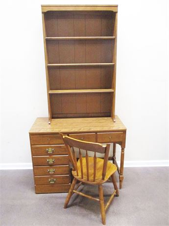 ETHAN ALLEN STUDENT DESK WITH HUTCH