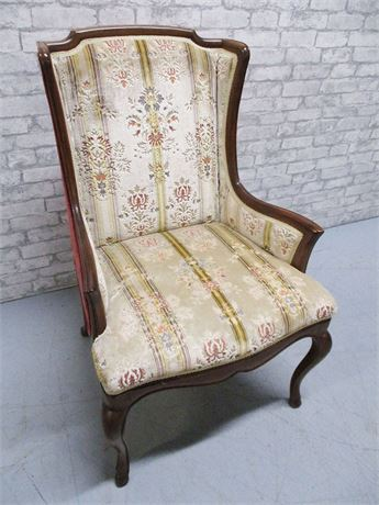 WOODEN FRAME ARMCHAIR WITH VELVET UPHOLSTERY BY JOHN WIDDICOMB CO.