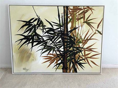 Signed Mid Century Wing Lee Bamboo Canvas