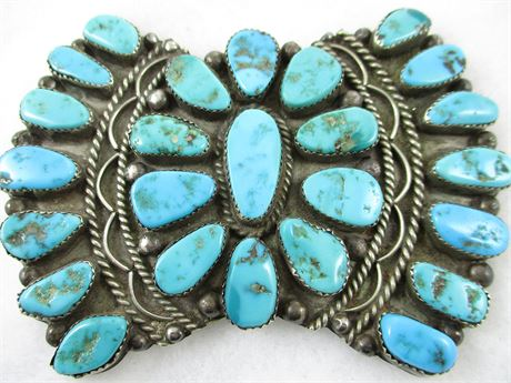 VINTAGE STERLING SILVER AND TURQUOISE PIN