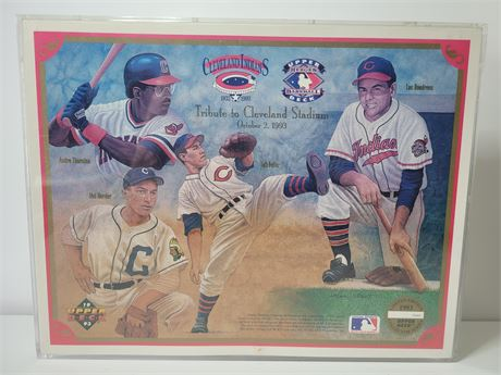 """Commemorative Artwork by Upper Deck """"Tribute to Cleveland Stadium"""" in frame"""