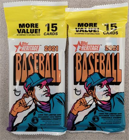 2021 TOPPS HERITAGE FACTORY SEALED 15 CARD FAT PACK LOT OF 2